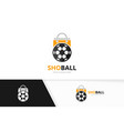 soccer and shop logo combination ball and vector image vector image
