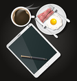 tablet with black coffee and fried egg and bacon vector image