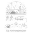 thin line gas station technology set vector image