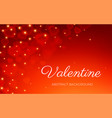 valentine day card love heart bokeh red background vector image vector image