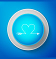 white cupid arrow heart valentines day cards icon vector image