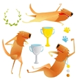 Winning Red Happy Dog Contest with Cups and Medals vector image vector image