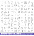 100 paint school icons set outline style vector image vector image