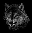 angry wolf monochrome portrait a wolfs head vector image vector image