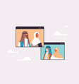 arab couple having virtual meeting vector image