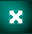 arrows in four directions icon on green background vector image