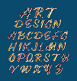art design stylized colorful font and alphabet vector image