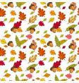 autumn seamless pattern background colorful leaves vector image