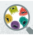 Background with little angry viruses and magnifier vector image