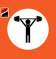 badge of a weightlifter with a barbell vector image