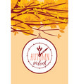 banner with autumn tree and clock vector image vector image
