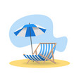 beach chair and umbrella from sun on sand vector image