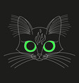 black striped cat eyes face head vector image vector image