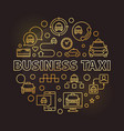 business taxi concept round golden outline vector image vector image