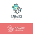 cartoon style education logo Hand drawn vector image