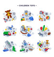 children toys set various objects for kids game vector image vector image