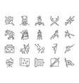 chinese ancient war line icon set vector image
