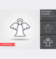 christmas angel line icon with editable stroke vector image