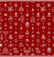 christmas outline icons seamless pattern vector image vector image