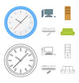 clock with arrows a computer with accessories for vector image vector image