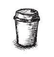 coffee paper cup in sketch hand vector image