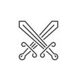 crossed swords concept icon in thin line vector image