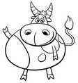 cute bull farm animal comic character coloring vector image vector image