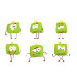 cute green humanized purse collection wallet vector image vector image