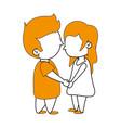 cute kids in love cartoon vector image