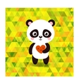 cute little panda on triangles background vector image vector image