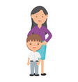 cute little student boy with female teacher vector image vector image
