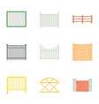 decorative fence icons set cartoon style vector image vector image