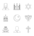 Faith icons set outline style vector image vector image
