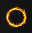 fire ring realistic burning fiery circus circle vector image vector image