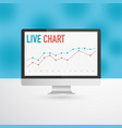 flat monitor or personal computer with live chart vector image vector image