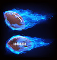 flying rugby ball in blue fire vector image