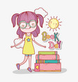 girl read books information to learn vector image vector image