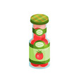 glass jar with pickled tomatoes canned vegetables vector image vector image