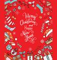 greeting card christmas card with christmas hats vector image