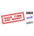 grunge save time and money textured rectangle vector image vector image