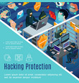 hacking security and protection template vector image vector image