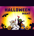 halloween night concept background cartoon style vector image