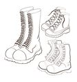 hand drawn doodle boots icon set vector image vector image
