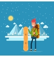 Happy man with a snowboard on a background of vector image vector image
