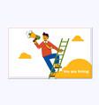 hiring recruitment design poster man employer vector image