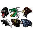 honey badger lion bear gorilla dragon wolf logo vector image