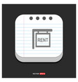 house for rent icon gray icon on notepad style vector image