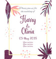 invitation template with tropical leaves vector image vector image