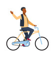 man riding on bicycle cyclist african guy rides vector image vector image
