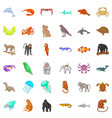 many animals icons set cartoon style vector image vector image